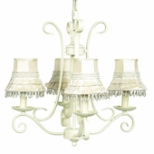 4-Arm Harp Ivory Chandelier with Ivory Skirt Dangle Shades