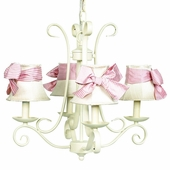 4-Arm Harp Ivory Chandelier with Ivory with Pink Check Sash Bow Shades
