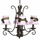 4-Arm Harp Mocha Chandelier with Pink with Brown Sash Shades