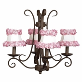 4-Arm Harp Mocha Chandelier with Ring of Roses on White Shades