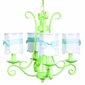 4-Arm Harp Modern Green Chandelier with White with Blue Sash Shades Scallop Drum Shades