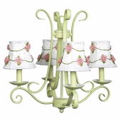 4-Arm Harp Modern Green Chandelier with White with Pink Net Flower Shades