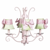 4-Arm Harp Pink Chandelier with Modern Green with Pink Sash Bow Shades