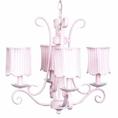 4-Arm Harp Pink Chandelier with Pink Stripe Scallop Drum Shades