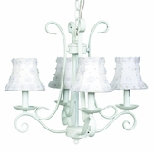 4-Arm Harp White Chandelier with White Petal Flower Shades