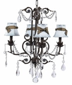 4-Arm Valentino Mocha Chandelier with Blue with Brown Sash Shades