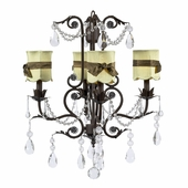 4-Arm Valentino Mocha Chandelier with Green with Brown Sash Shades Scallop Drum Shades