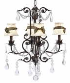 4-Arm Valentino Mocha Chandelier with Ivory with Brown Sash Shades