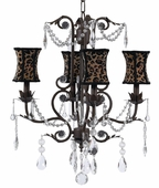 4-Arm Valentino Mocha Chandelier with Leopard Hourglass Shades