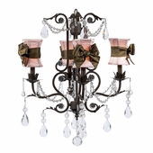 4-Arm Valentino Mocha Chandelier with Pink with Brown Sash Hourglass Shades