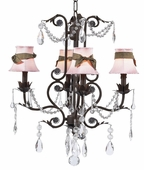 4-Arm Valentino Mocha Chandelier with Pink with Brown Sash Shades