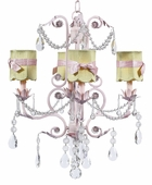 4-Arm Valentino Pink Chandelier with Green with Pink Sash Shades Scallop Drum Shades