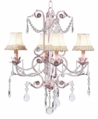 4-Arm Valentino Pink Chandelier with Pink/Green Flower Border Shades