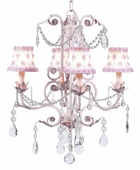 4-Arm Valentino Pink Chandelier with White/Pink Petal Flower Shades