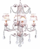 4-Arm Valentino Pink Chandelier with White with Pink Sash Shades
