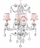 4-Arm Valentino White Chandelier with Pink with White Sash Shades