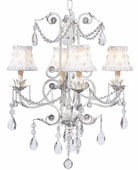 4-Arm Valentino White Chandelier with White Petal Flower Shades