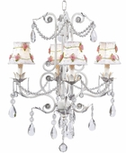4-Arm Valentino White Chandelier with White with Pink Net Flower Shades
