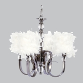 4-Light Hampton Chandelier with White Feather Drum Shades