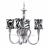 4-Light Hampton Chandelier with Zebra Print Hourglass Shades