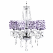 4-Light Middleton Chandelier with Lavender Rose Garden Drum Shades
