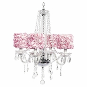 4-Light Middleton Chandelier with Pink Rose Garden Drum Shades
