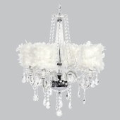 4-Light Middleton Chandelier with White Feather Drum Shades