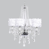4-Light Middleton Chandelier with White Rose Garden Drum Shades