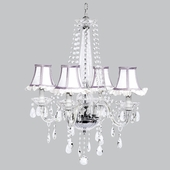4-Light Middleton Chandelier with White Ruffled Shades and Lavender Trim