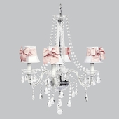 4-Light Middleton Chandelier with White Shades and Pink Bow Sashes