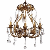 5-Arm Ballroom Gold Chandelier