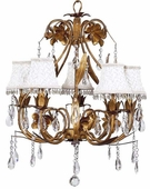 5-Arm Ballroom Gold Chandelier with Ivory Smock with Dangle Shades