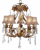 5-Arm Ballroom Gold Chandelier with Taupe Flower Tulle Shades