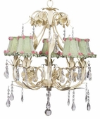 5-Arm Ballroom Ivory Chandelier with Green Check Ruffled Edge Shades