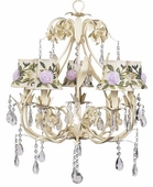 5-Arm Ballroom Ivory Chandelier with Ivory Rose Net Flower Shades
