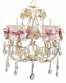 5-Arm Ballroom Ivory Chandelier with Ivory with Pink Check Sash Bow Hourglass Shades
