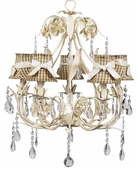 5-Arm Ballroom Ivory Chandelier with Taupe Check with Ivory Sash Shades