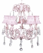 5-Arm Ballroom Pink Chandelier with Pink Petal Flower Shades