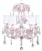 5-Arm Ballroom Pink Chandelier with White Scallop Drum Shades