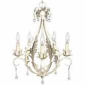 5-Arm Caesar Antique Ivory Chandelier