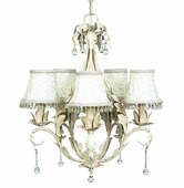 5-Arm Caesar Antique Ivory Chandelier with Ivory Smock with Dangle Shades