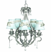 5-Arm Caesar Pewter Chandelier with Blue with Champagne Sash Shades