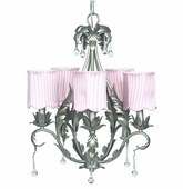 5-Arm Caesar Pewter Chandelier with Pink Stripe Scallop Drum Shades