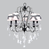 5-Arm Carousel Black Chandelier with Pink and Black Check Sash Shades