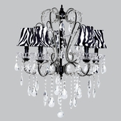 5-Arm Carousel Black Chandelier with Zebra Bell Shades