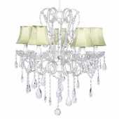 5-Arm Carousel White Chandelier with Green Shades
