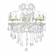 5-Arm Carousel White Chandelier with Green with White Bow Shades