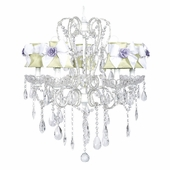 5-Arm Carousel White Chandelier with Green with White Bow Shades and Lavender Flower Magnets