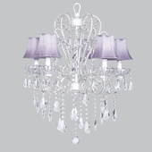 5-Arm Carousel White Chandelier with Lavender Shades