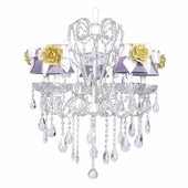 5-Arm Carousel White Chandelier with Lavender with White Bow Shades and Yellow Flower Magnets